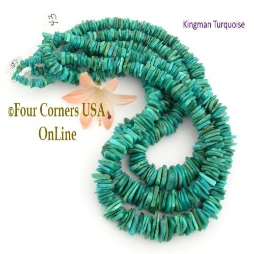 corners graduated american four kng beads inch supplies usa turquoise rounded heishi to kingman bead jewelry strand online