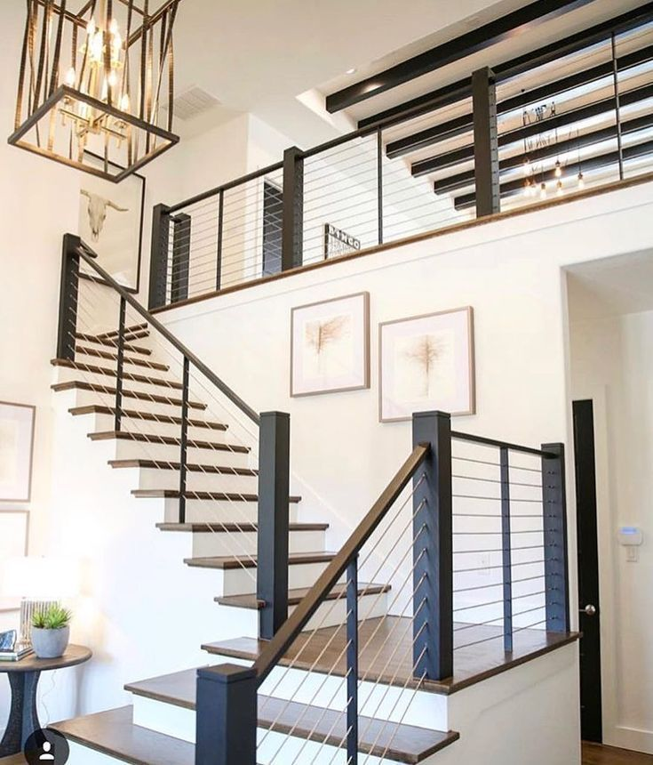 80 Modern Farmhouse Staircase Decor Ideas: #abstractart #staricase #interiordesign Modern Metal