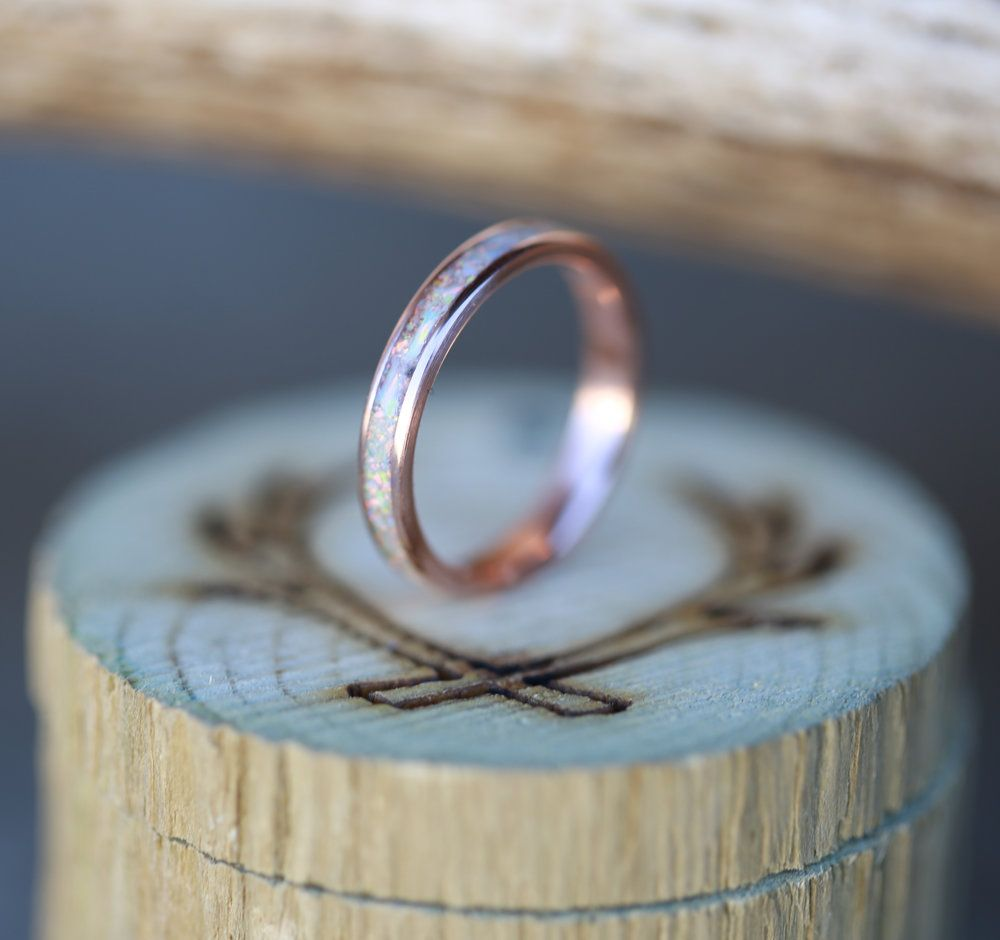 Fire Ice Opal Wedding Band Handcrafted By Staghead Designs