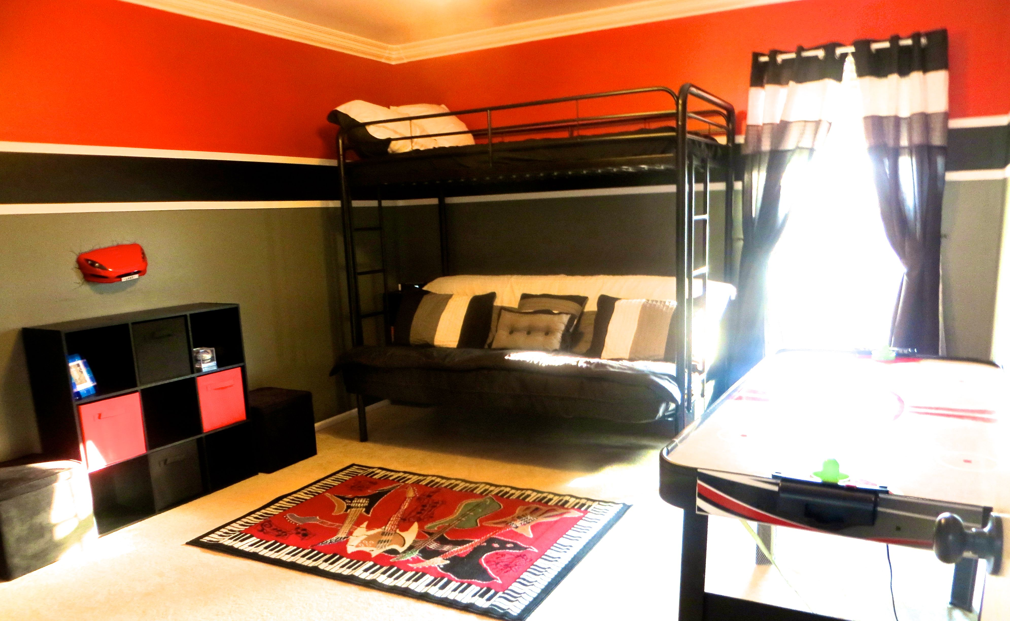 Red Black White And Grey Boy S Room Black Room Decor Grey Boys Rooms Boys Bedroom Makeover