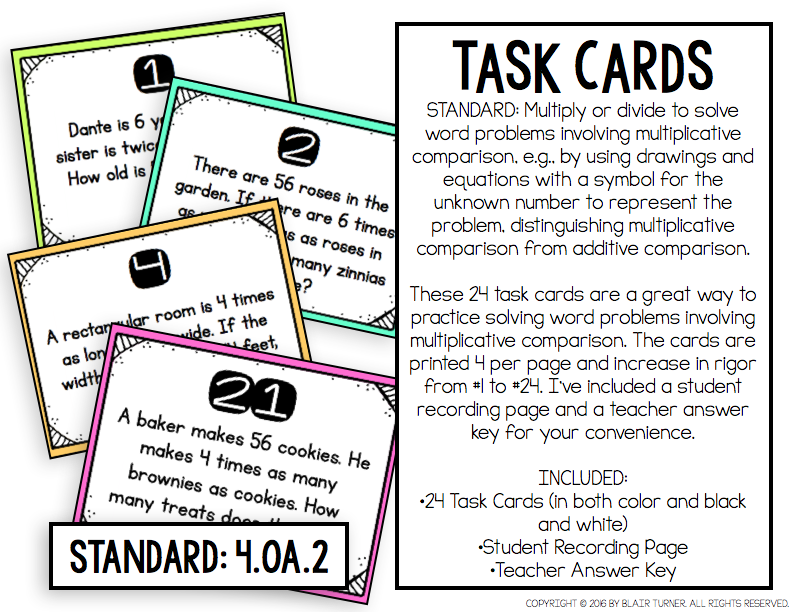 Product Preview | Multiplicative comparison, Task cards ...