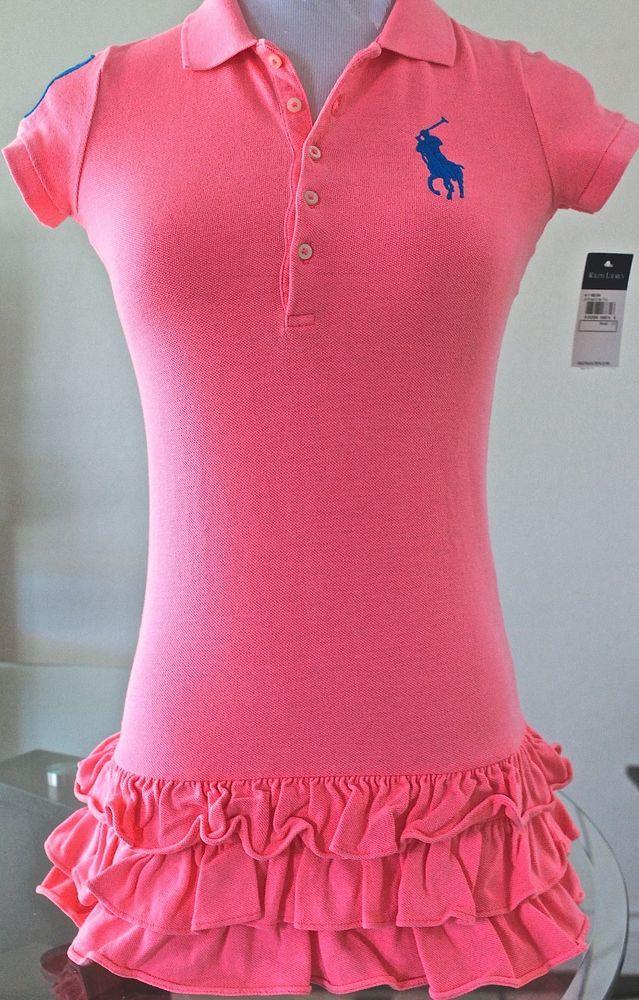 Ralph Lauren Girl S Polo Big Pony Neon Pink Blue Dress Xl 16 New With Tags Ralphlaurenpolo Everyday Polo Dress Polo Girls Ralph Lauren Dress