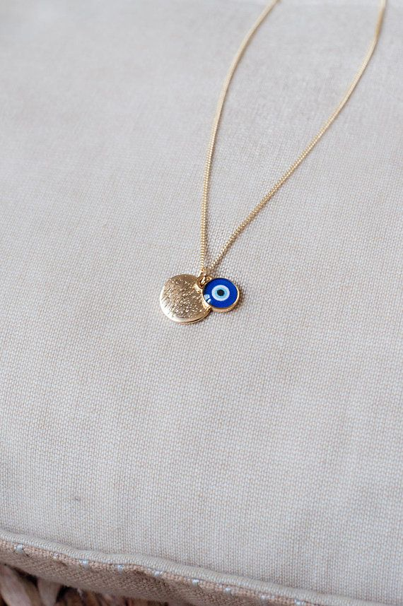 14K Yellow Gold Evil Eye Hamsa Charm Pendant For Necklace or Chain