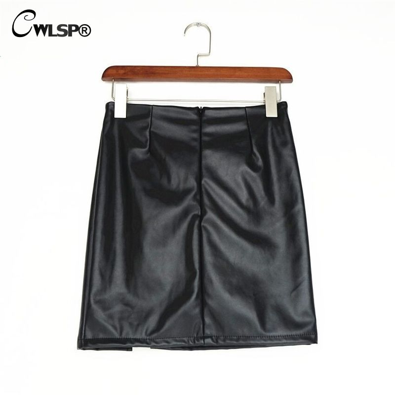 21.78 - Cool CWLSP Black Lace Up PU Leather Skirts 2017 Spring Autumn  Womens Side Split 9057b56a3df5