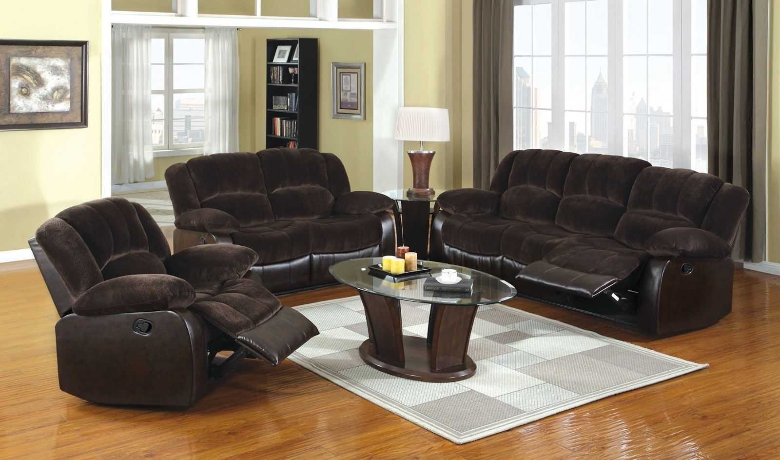 1549 99 Modern Reclining 2pc Sofa Set Living Room Brown Built In