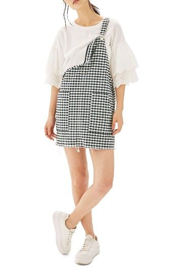 c44858d7d Free shipping and returns on Topshop Raw Hem Gingham Pinafore Dress ...