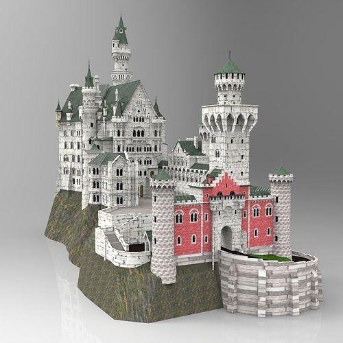 neuschwanstein castle in obj and fbx formats 3d model obj mtl fbx