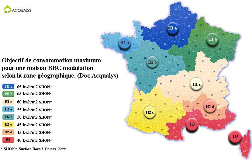 Carte zones géographiques RT 2012 France Portail habitat Picbleu - puissance electrique pour une maison individuelle