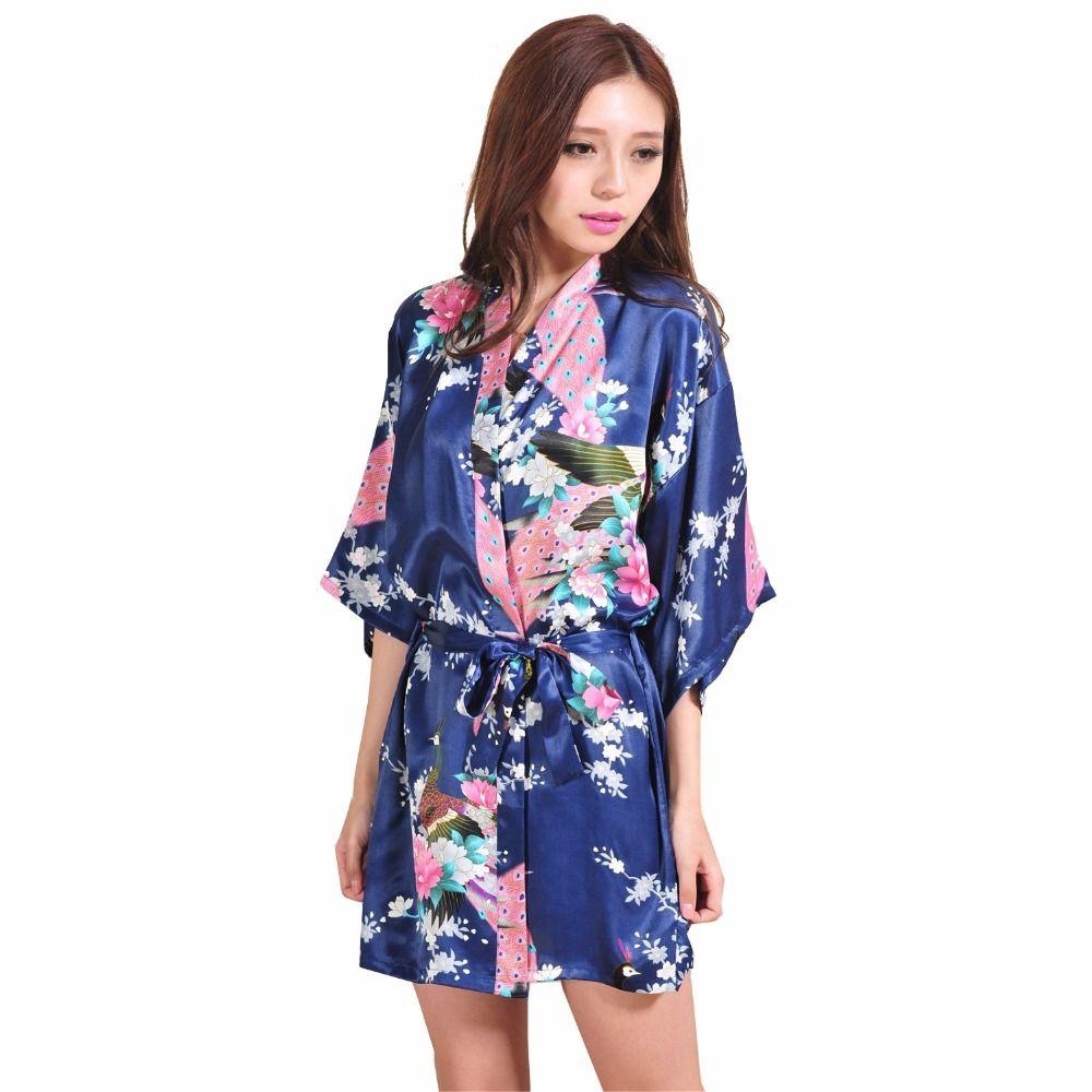 Marineblau Dame Silk Rayon Sexy Mini Kimono Yukata Kleid Chinesische ...