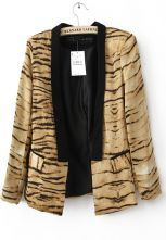 Yellow Casual Lapel Long Sleeve Floral Leopard Suits $31.2