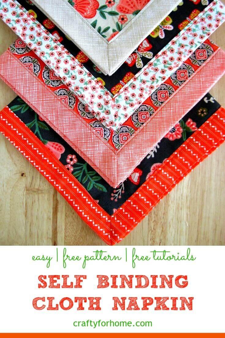 Self Binding Cloth Napkins #clothnapkins