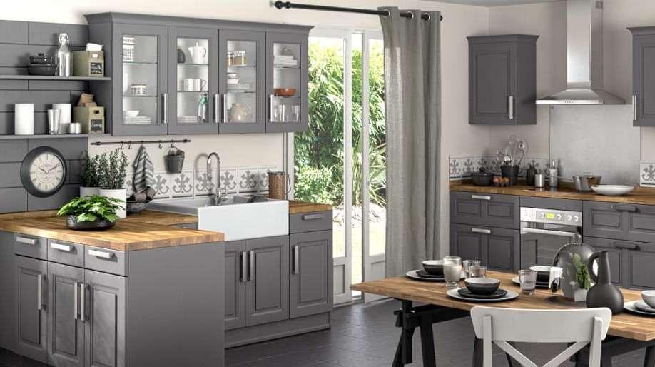 cuisine grise total look bois brut dégradé rustique Interior - Renovation Meuble En Chene
