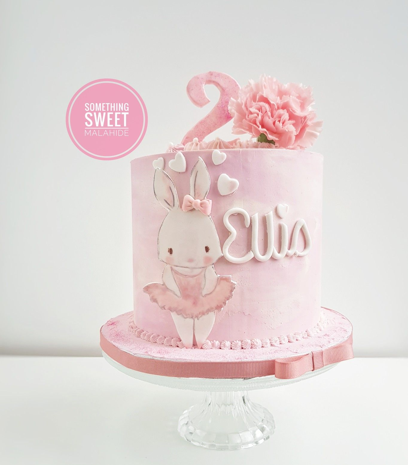 Pink Bunny Girl Buttercream Birthday Cake Bunny Birthday Cake