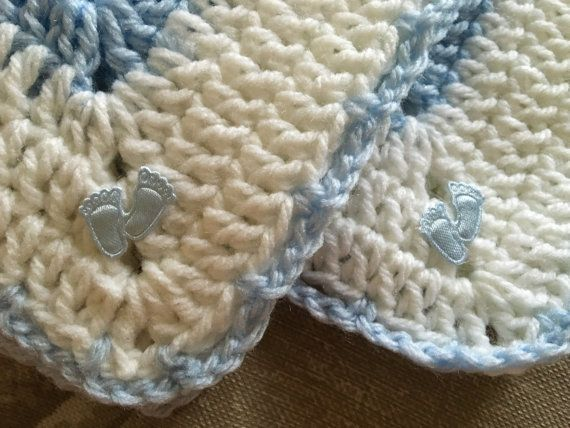 Ruffle crochet blue and white baby boy blanket w/ baby footprints
