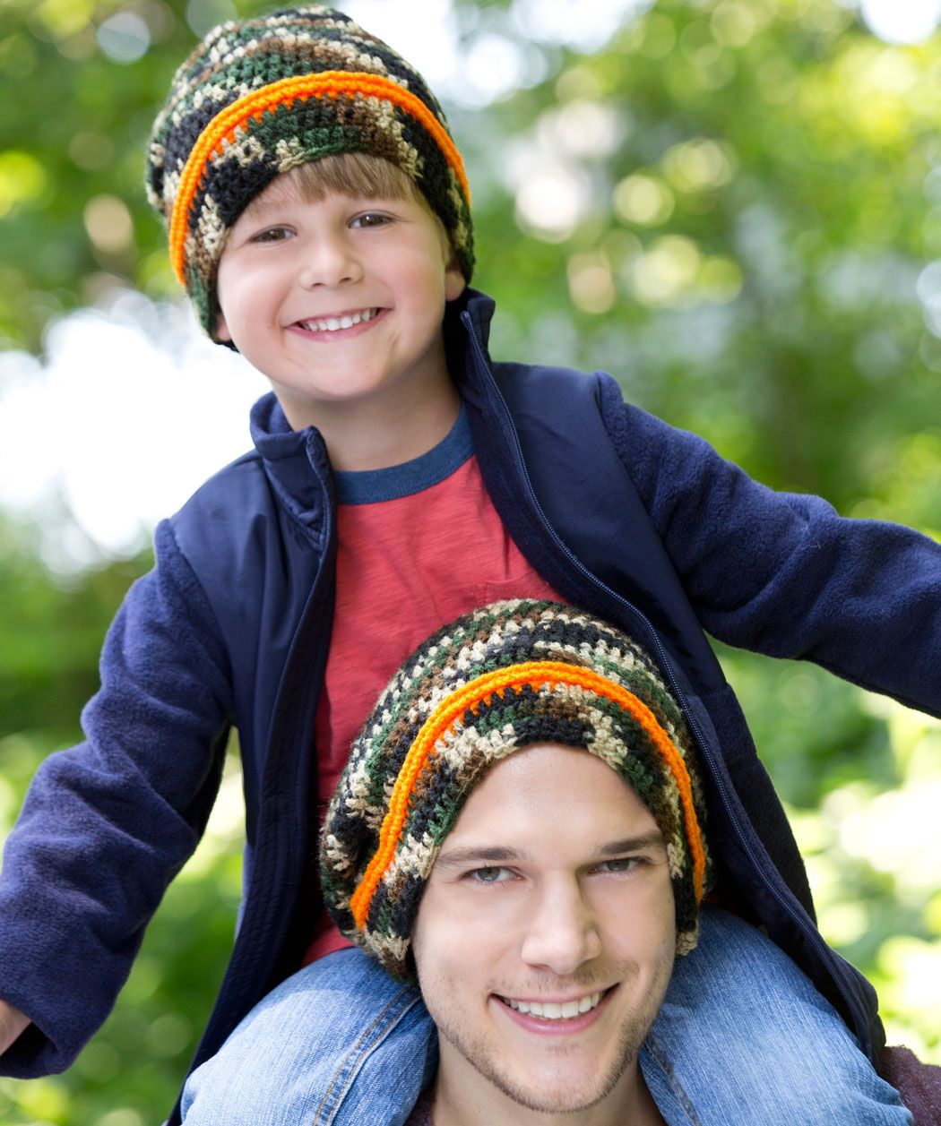Dad and son or grandson or anyone else you dont want to get shot dad son camo hats free crochet pattern from red heart yarns bankloansurffo Images