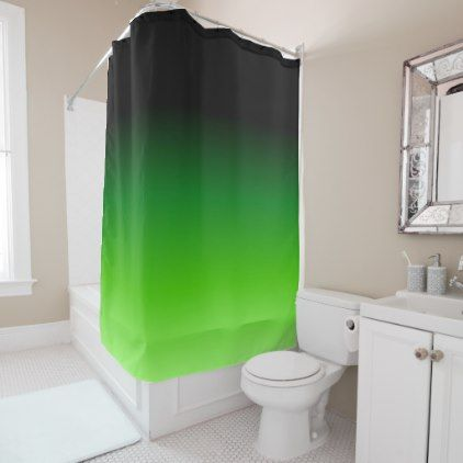 #Black and Green Gradient 0921 Shower Curtain - #Bathroom #Accessories #home #living