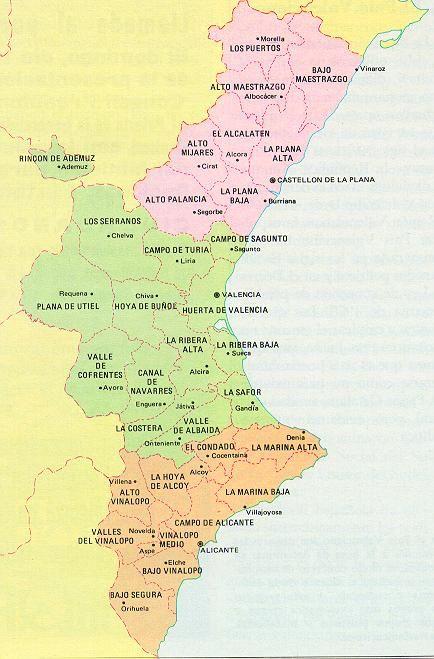 Mapa Fisico Comunitat Valenciana.Valencia Comarcas Mapa Comunidad Valenciana Imagenes De Mapas Mapa De Espana