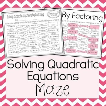 Solving Quadratic Equations Factoring Line Puzzle Activity