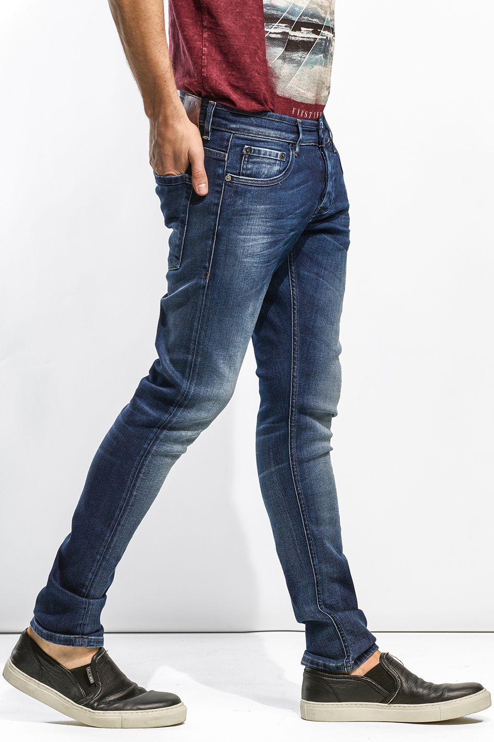 29f19212b Calças de ganga cintura baixa e perna muito justa | 110717 Medium Dark |  Salsa