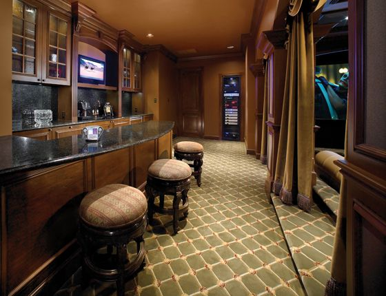 Home theater with a bar counter to raise a toast | Bar counter, Bar ...