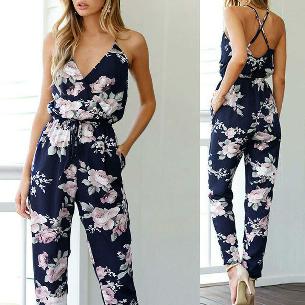 Clubwear Overall Romper Trousers Cocktail Casual Jumpsuits Playsuit Floral Party