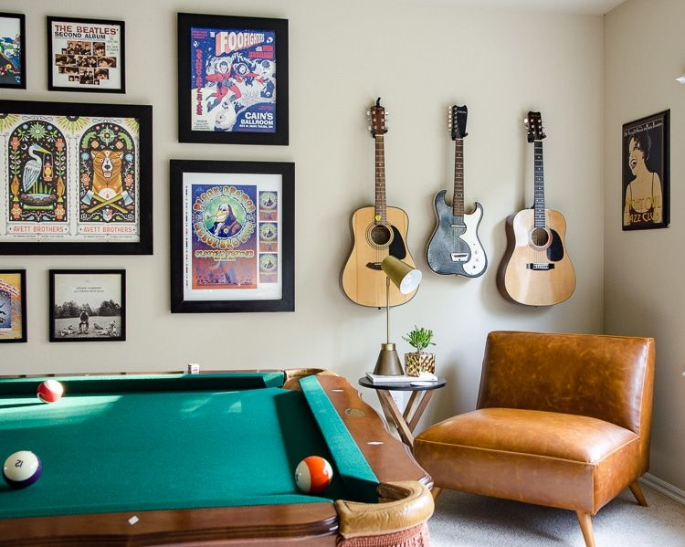Game room decorating music theme pool table home