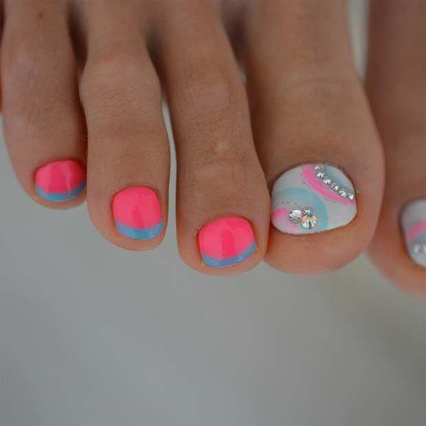25 Toe Nail Designs that Scream Summer | Neon toe nails, Toe nail ...