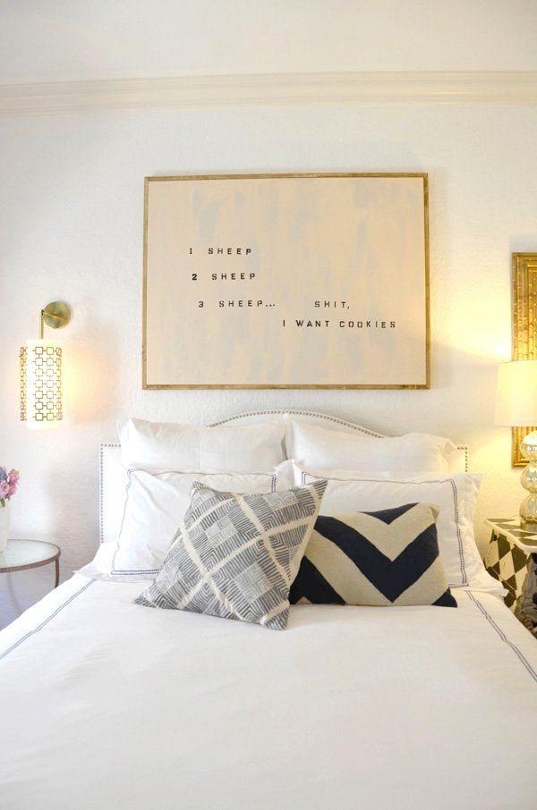 bedroom art above bed