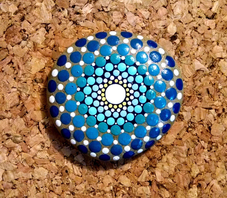 beach stone art ~ blue sea ombre progression mandala ~ hand