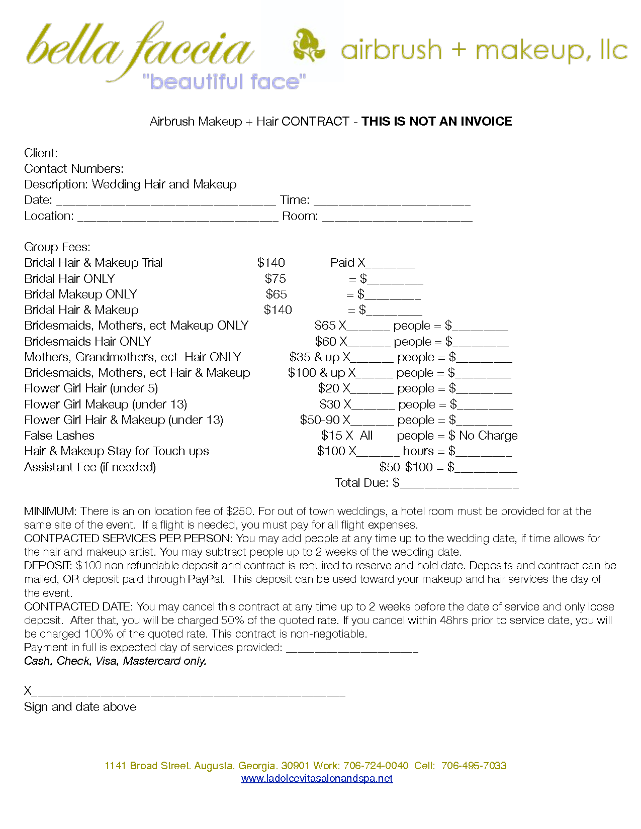 bridalhaircotract airbrush makeup hair contract this is not an invoice client