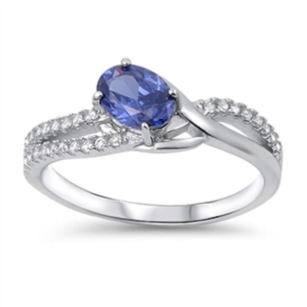 925 Sterling Silver Sparkle Solitaire Round Cut Tanzanite Party Ring