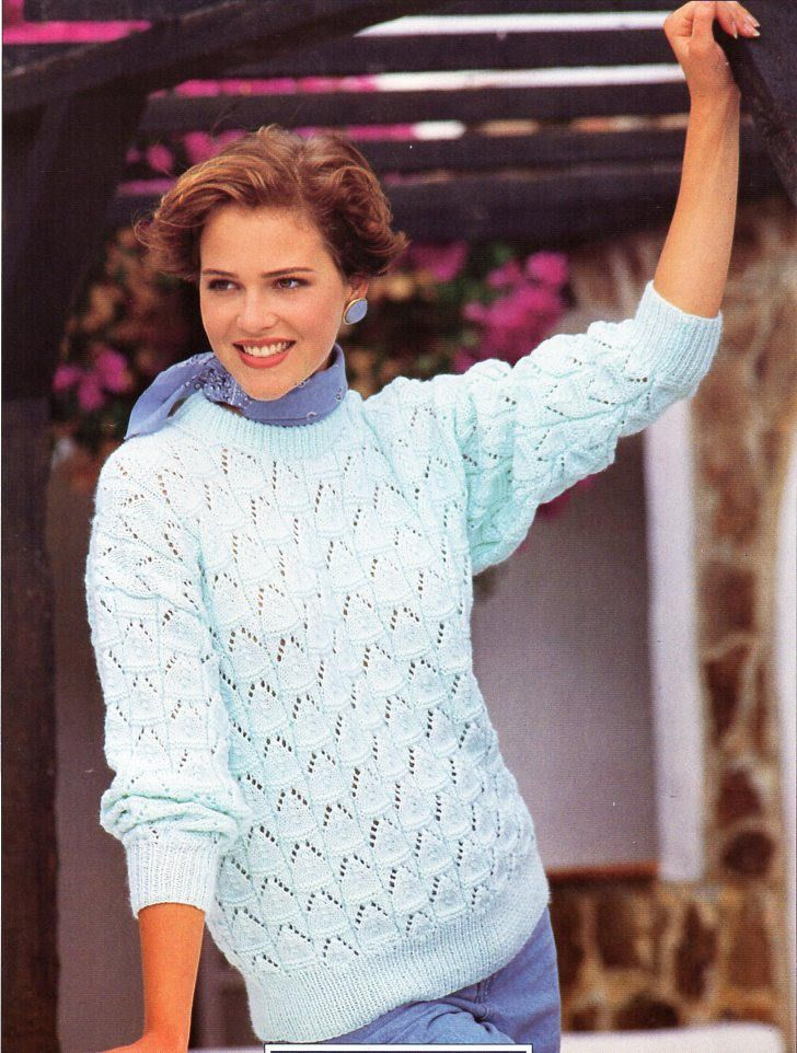 523f415501e67f womens sweater knitting pattern pdf ladies lacy round neck jumper 30-40