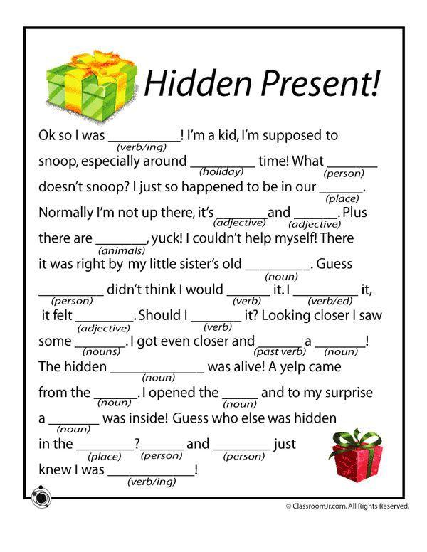 christmas mad libs christmas mad libs hidden present classroom jr holidays christmas. Black Bedroom Furniture Sets. Home Design Ideas