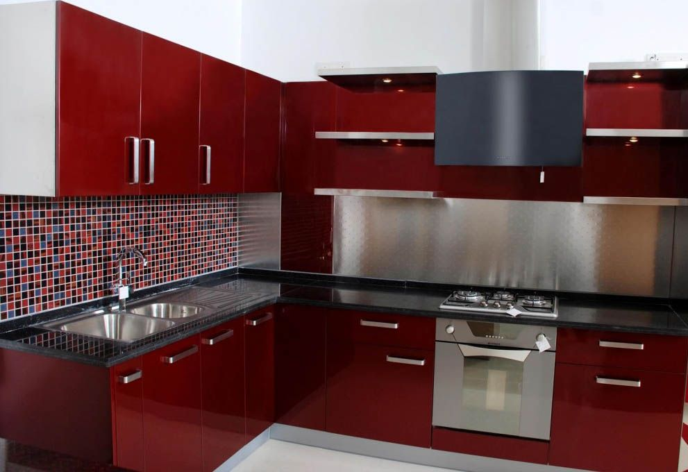 Dark Red White Modular Kitchen Design - Modular Kitchen Designs Red ...
