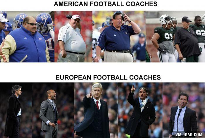 European football coaches vs. American football coaches