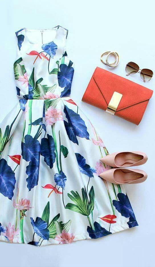 Flores Floral Print Dress Fashion Print Dress