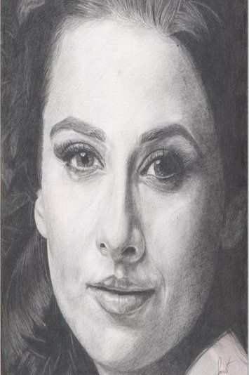 Vidya balan lovely pencil sketch
