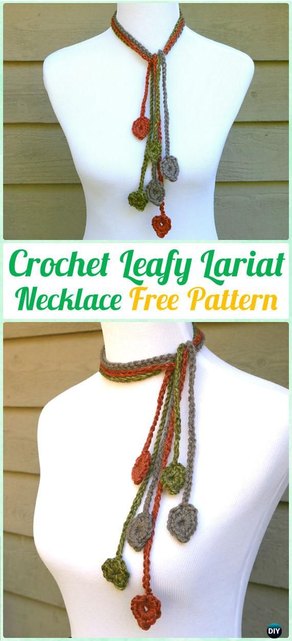 Crochet Leafy Lariat Necklace Free Pattern Crochet Jewelry