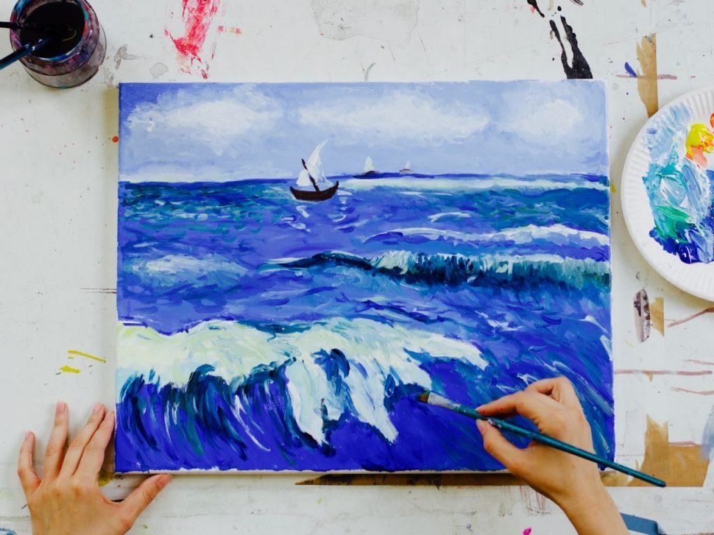 Malen Wie Van Gogh Meer Motiv Auf Leinwand Kunst Ideen Acryl