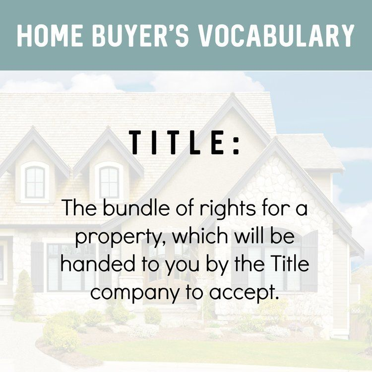 Home Buyer S Vocabulary Title The Bundle Of Rights For A