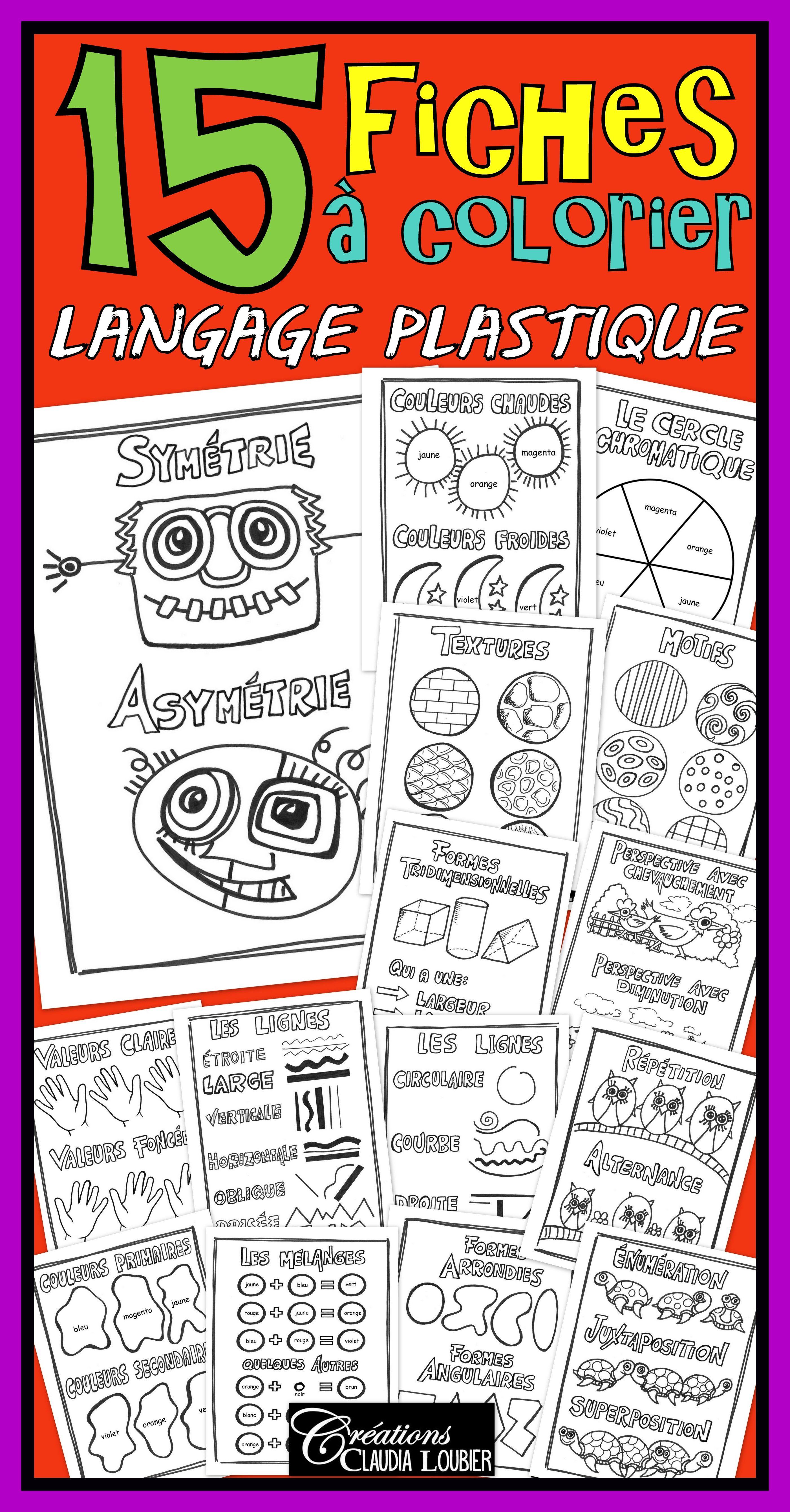 Bonjour ! Voici un ensemble de 15 fiches à colorier. Elles font suite aux affiches en couleurs du langage plastique: Les affiches couleurs et le fiches à colorier sont aussi disponibles en 1 seul document: Ces fiches peuvent être photocopiées et distribuées aux élèves pour leur portfolio. Elles peuvent aussi servir à occuper les élèves qui terminent plus rapidement. Certaines fiches sont en double. La deuxième fiche contient le nom des couleurs à ajouter. Imprimer, colorier !