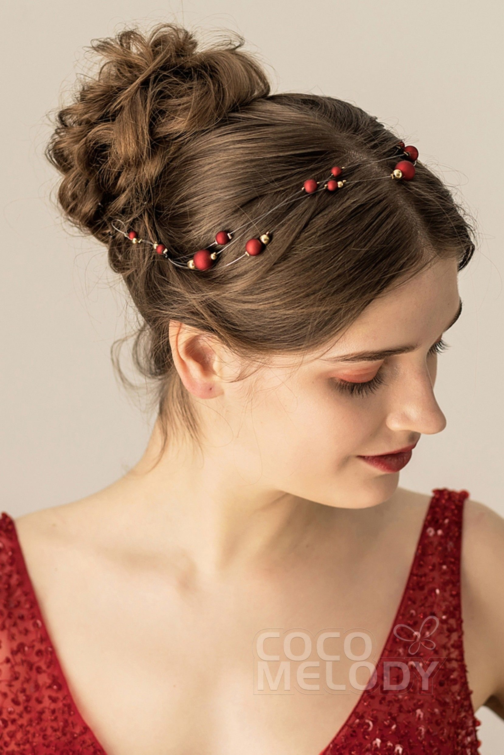 Cute polyester headbands with beads ch0170