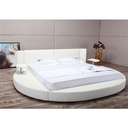 Queen Size Modern Round Platform Bed With Headboard In White Leather Fastfurnishings Com Leather Platform Bed Round Beds Headboards For Beds