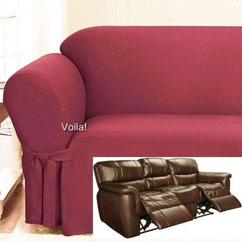 Reclining Sofa Slipcover E Red Ribbed Texture Adapted For Dual Recliner Couch