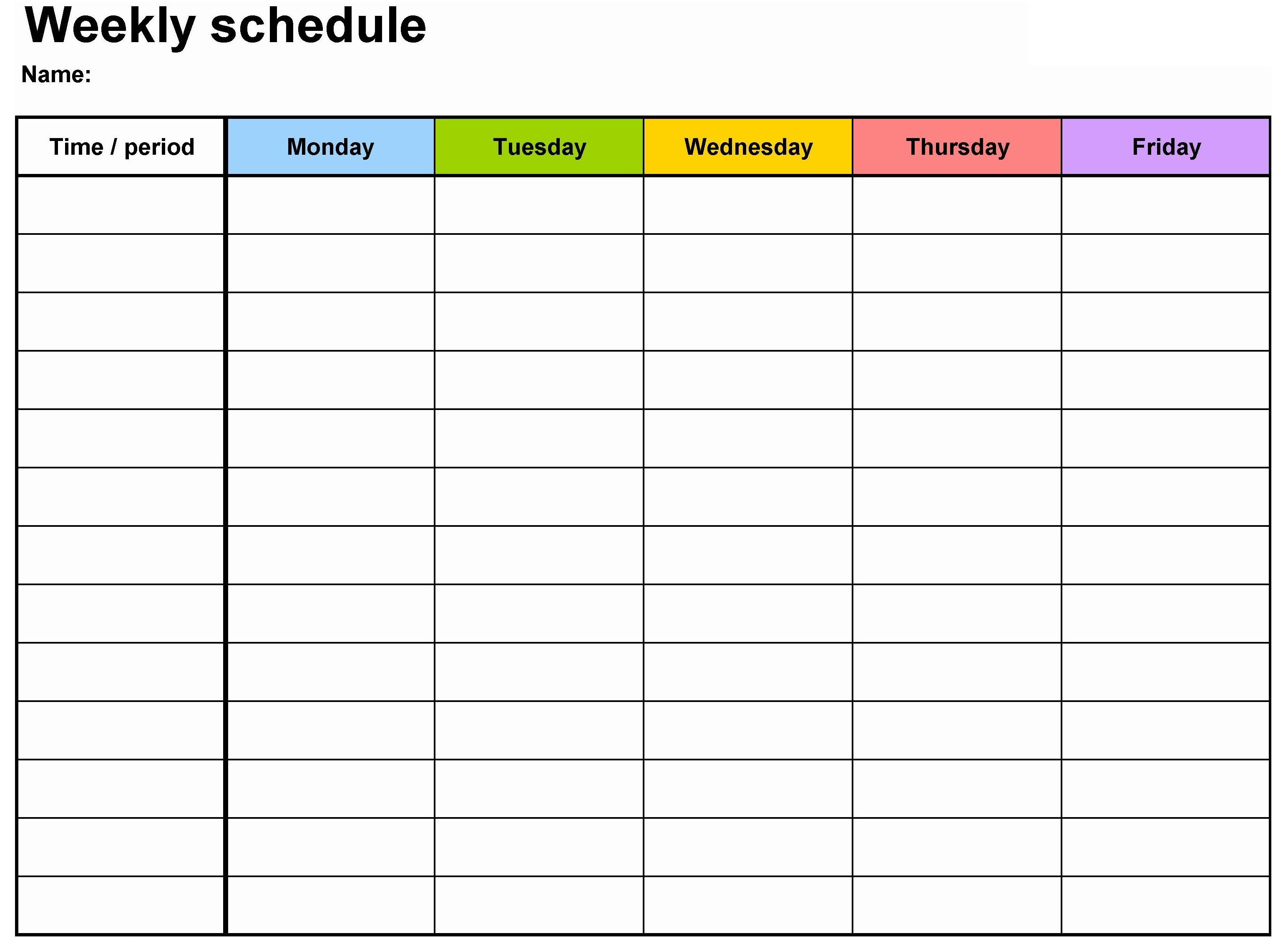 Blank Calendar Template Weeklycalendartemplateworddownload