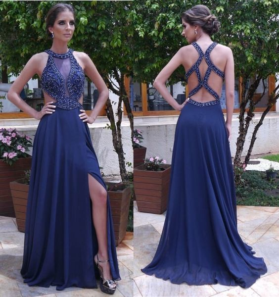 5af6a7b9388a2 VESTIDO DE FESTA AZUL ESCURO   Luciana   Vestido de festa, Vestido ...