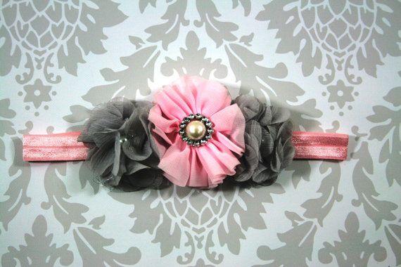 Pink and Gray Headband, Flower and Pearl Headband,Pink Headband, Flower Girl Headband, Vintage Inspired, Photo Prop, Birthday Headband