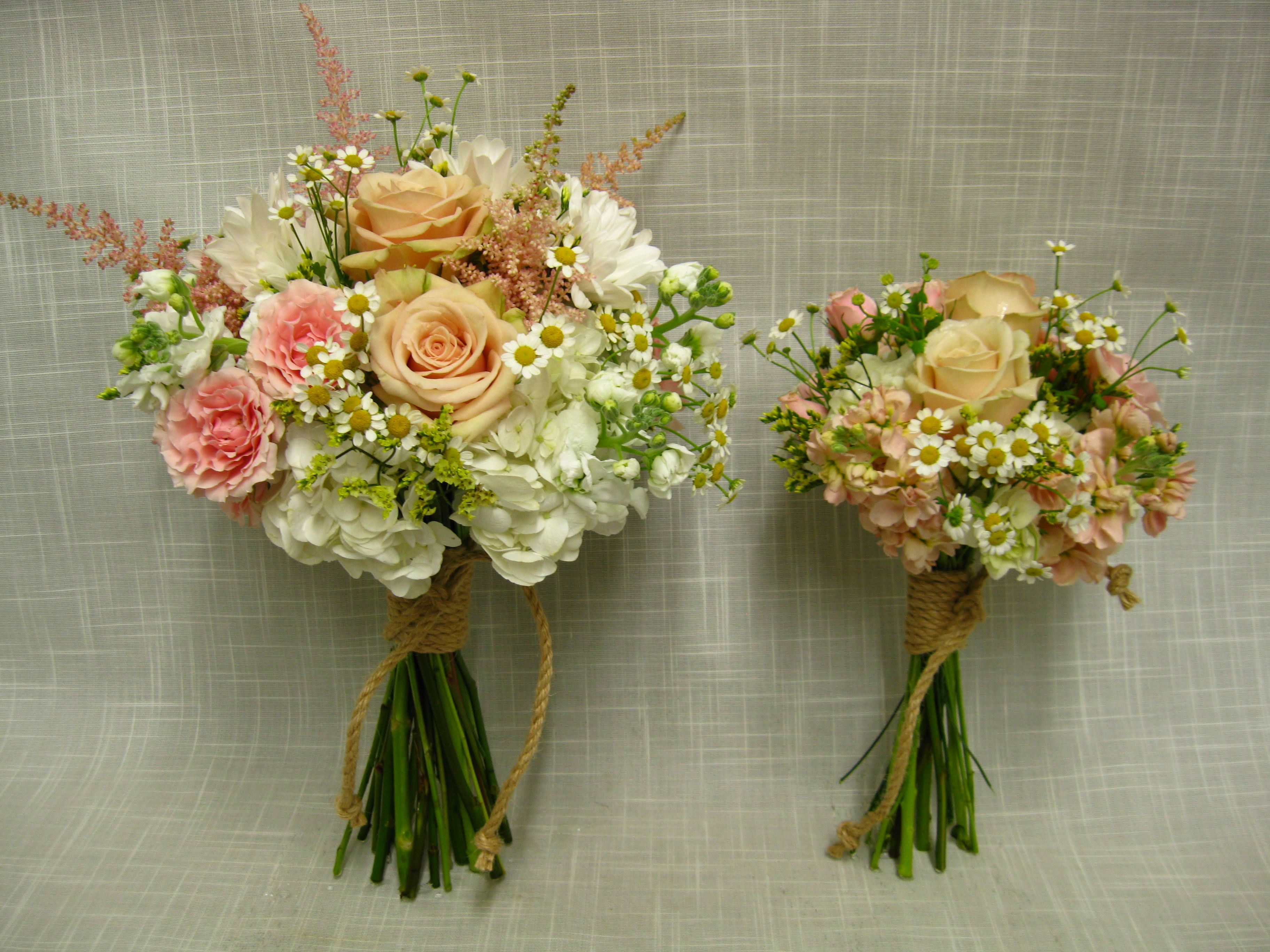 Simple Elegant Casual And Slightly Rustic Handtied Wedding Bouquets In Tones Of White