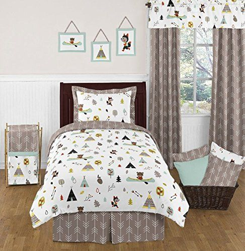 Sweet Jojo Designs Outdoor Adventure Nature Fox Bear Animals 4 Piece Boys  Twin Bedding Set ** To View Further For This Item, Visit The Image Link.