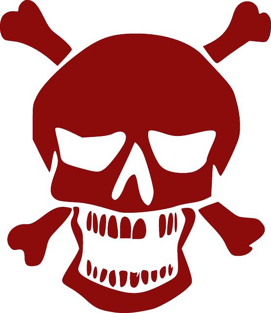 Skull, Crossbones, Red Vector/svg (Dengan gambar)